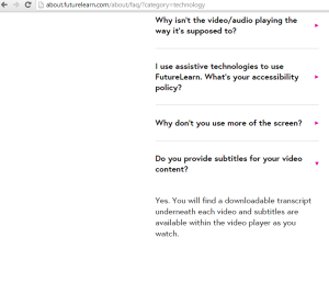 A screenshot of FutureLearn's FAQ webpage noting that subtitles are available