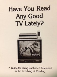 A photo of a captioned TV, the front cover of the National Captioning Institute - Guide for Using Captioned Television in the Teaching of Reading